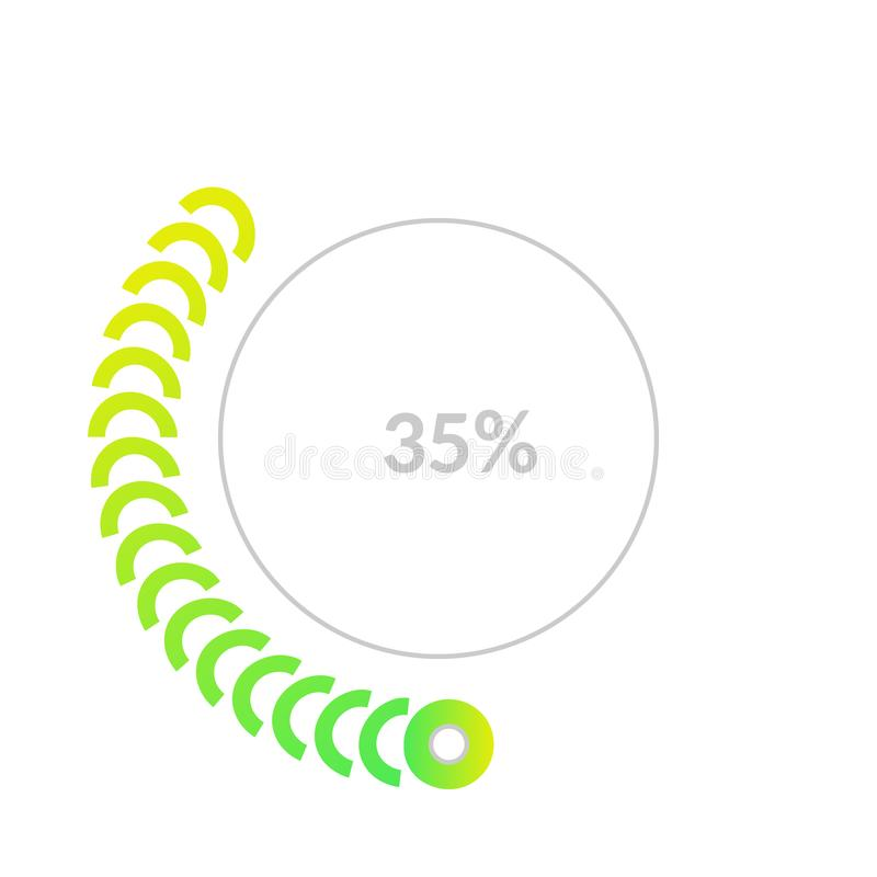 Business pie chart infographic with share of 35 percents for reports and presentations. Business pie chart infographic with share of 35 percents for reports and royalty free illustration