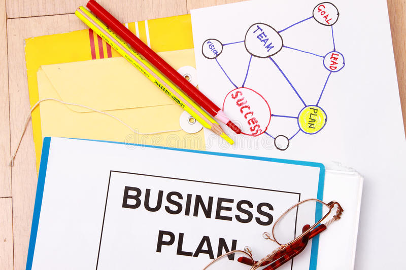 Business plan. Ning - Flowchart with actions and graphics royalty free stock photo