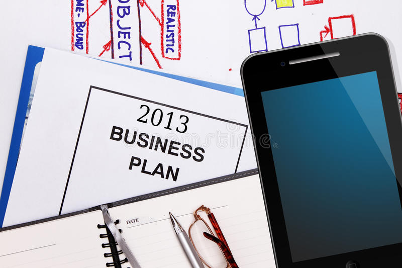 Business plan for 2013. Planning charts , business graphs and business plan for 2011 stock photography