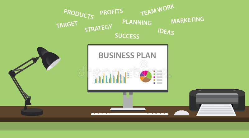 Business plan con il grafico e un certo dominio riguardante illustrazione vettoriale