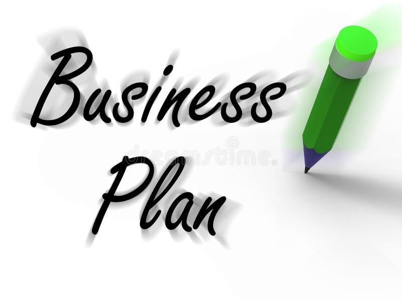 Business plan con le esposizioni della matita scritte visione di strategia e G illustrazione vettoriale