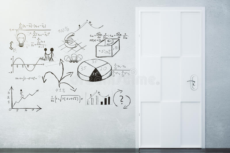 Business plan concept drawn on the concrete wall and white door royalty free stock images