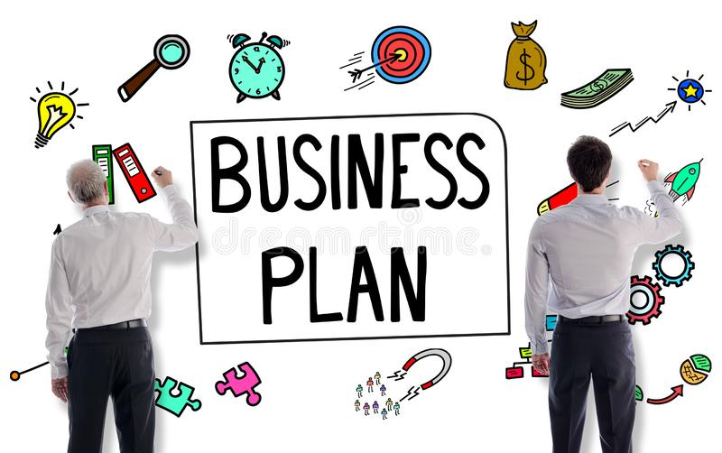 Business plan concept drawn by businessmen royalty free illustration