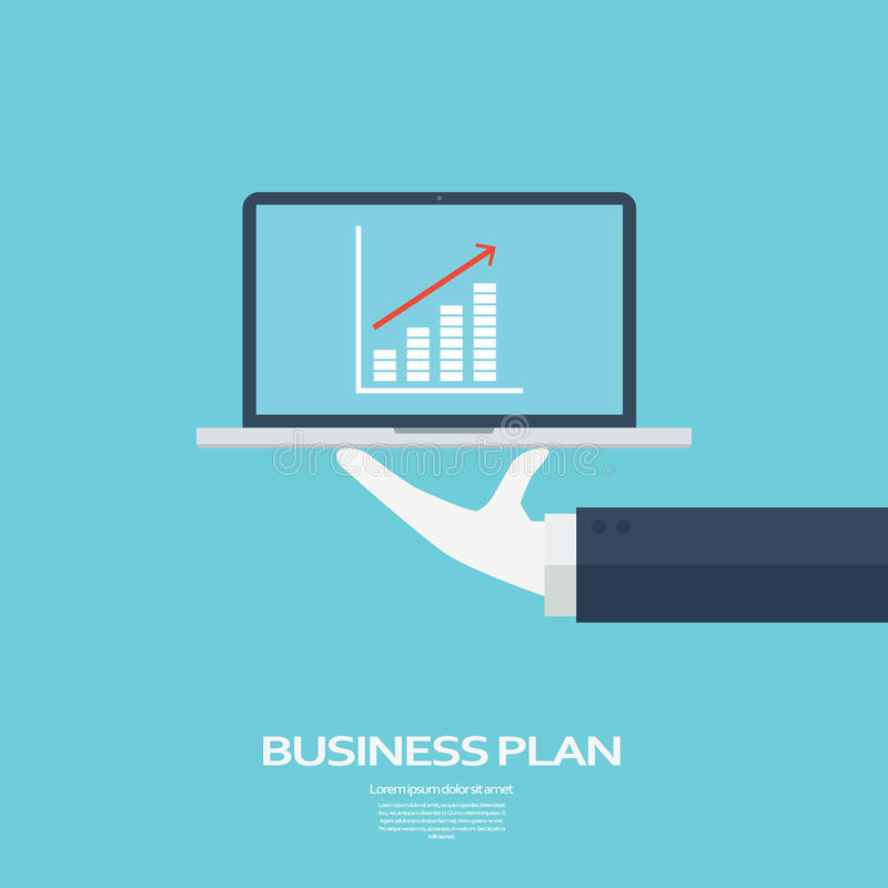 Business plan concept. Growth chart for successful mission. Targets and goals on computer presentation. stock illustration