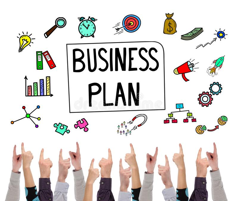 Business plan concept pointed by several fingers stock photography