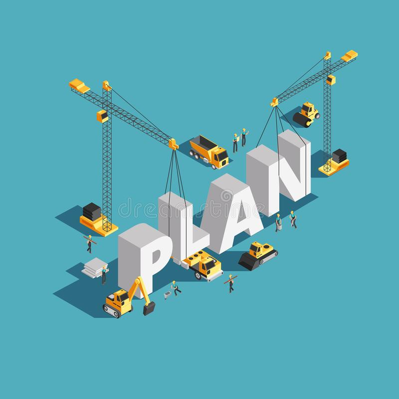 Business plan creation 3d isometric vector concept with workers and construction machinery stock illustration