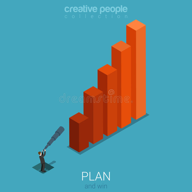 Business plan forecast stats graphic flat 3d isometric vector vector illustration