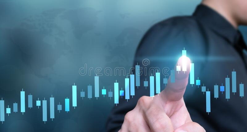 Business plan global graph and increase of chart positive way stock photos