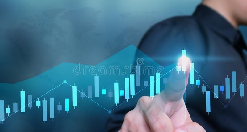 Business plan global graph and increase of chart positive way royalty free stock photo