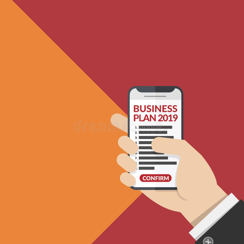 Free Business Plan List With Number For Year 2019 On Mobile Phone In Business Man`s Hand Isolated On Two Tone Background. Vector Stock Images - 136257724