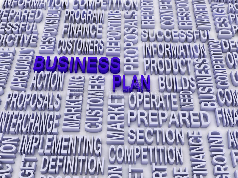 Business plan and other related words. stock photos