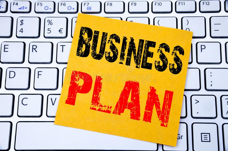 Business Plan Planning. Business concept for Preparation Project Strategy written on sticky note paper on the white keyboard backg. Business Plan Planning stock photography