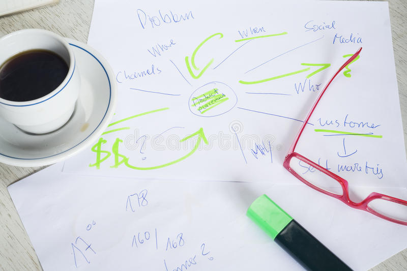Business plan sketch, mind map royalty free stock photo