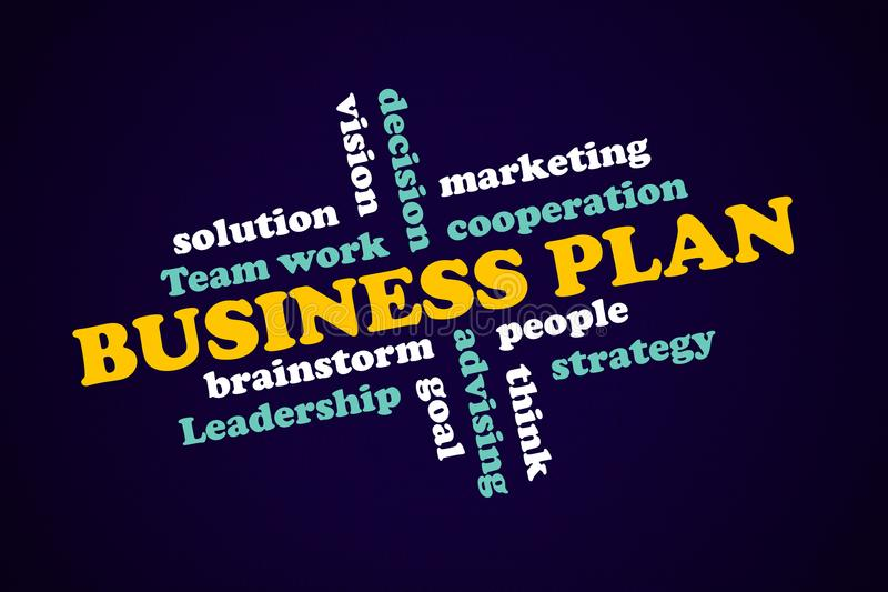 Business plan, strategic concept, components success.  stock illustration