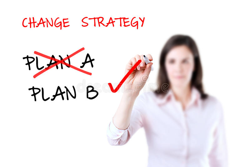 Business plan strategy changing. Business plan strategy changing, white background royalty free stock photo