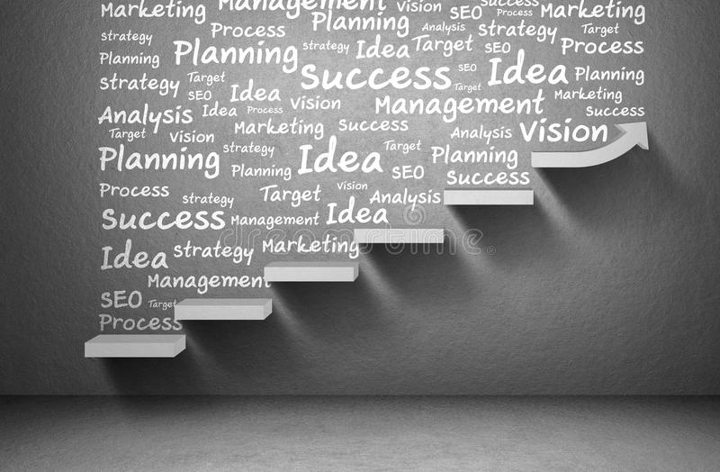 Business plan and strategy and rising arrow graph to success on staircase stock illustration