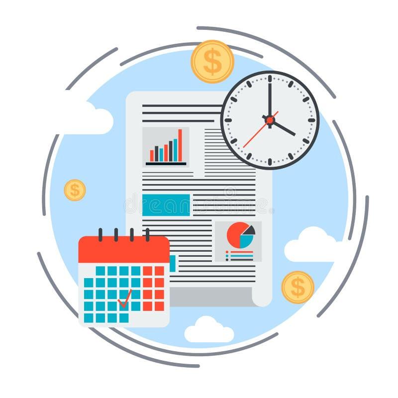 Business plan, time management, financial report concept vector illustration