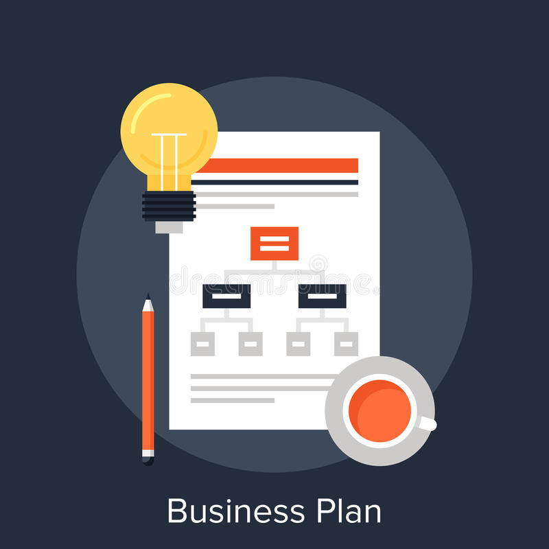 Business Plan. Vector illustration of business plan flat design concept royalty free illustration