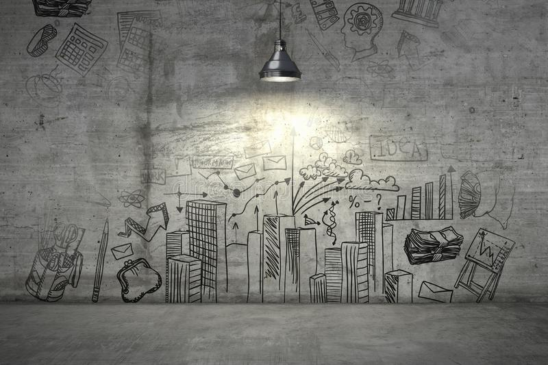 A business plan on a wall illuminated with single lamp from above. 3d render stock image