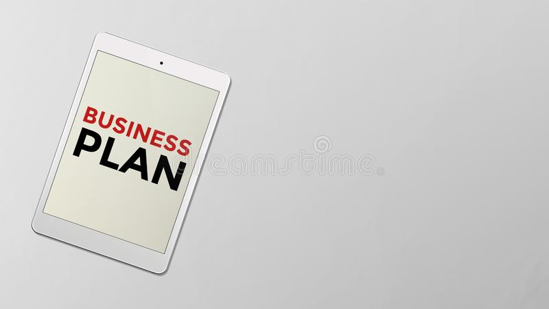 Business plan written on the screen of computer tablet stock illustration