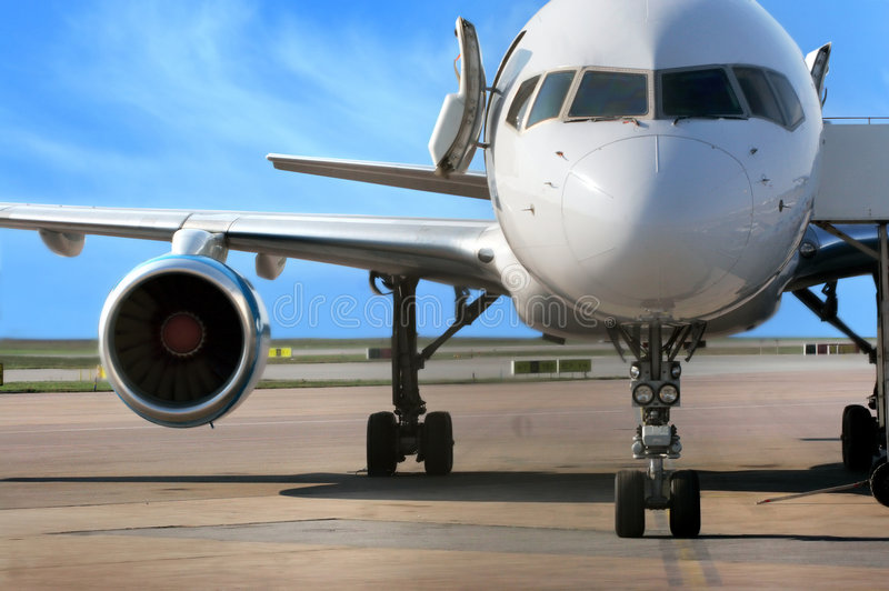Business plane. Parked at the airport stock images