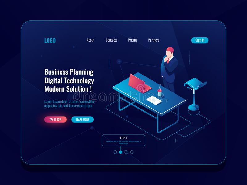 Business planning concept, businessman stay and think brainstorm process, workflow in office, laptop table man dark neon royalty free illustration