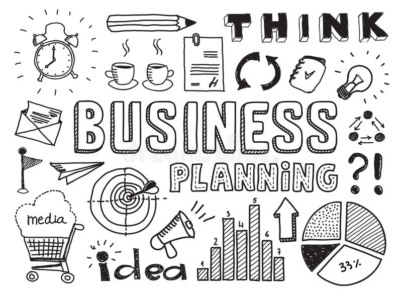 Business planning doodles elements vector illustration