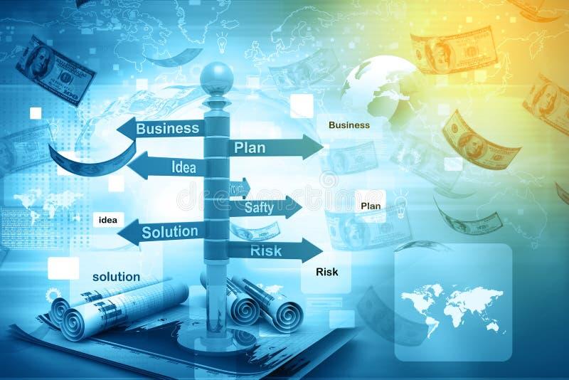 Business planning flow chart. Digital illustration of business planning flow chart stock illustration