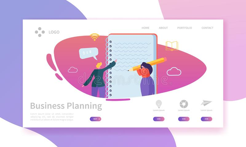 Business Planning Landing Page. Schedule Plan Concept with Flat People Characters Team Working Website Template vector illustration