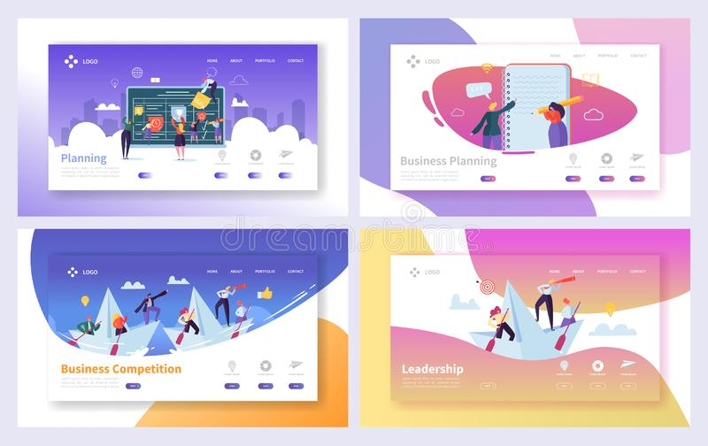 Business Planning Management Landing Page Set. Workflow Plan for Startup Company Team. Corporate Strategy. Schedule for Brainstorm Collaboration Website or Web stock illustration