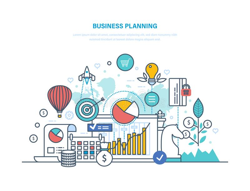 Business planning. Performance evaluation, organization, workflow control, time management. stock illustration