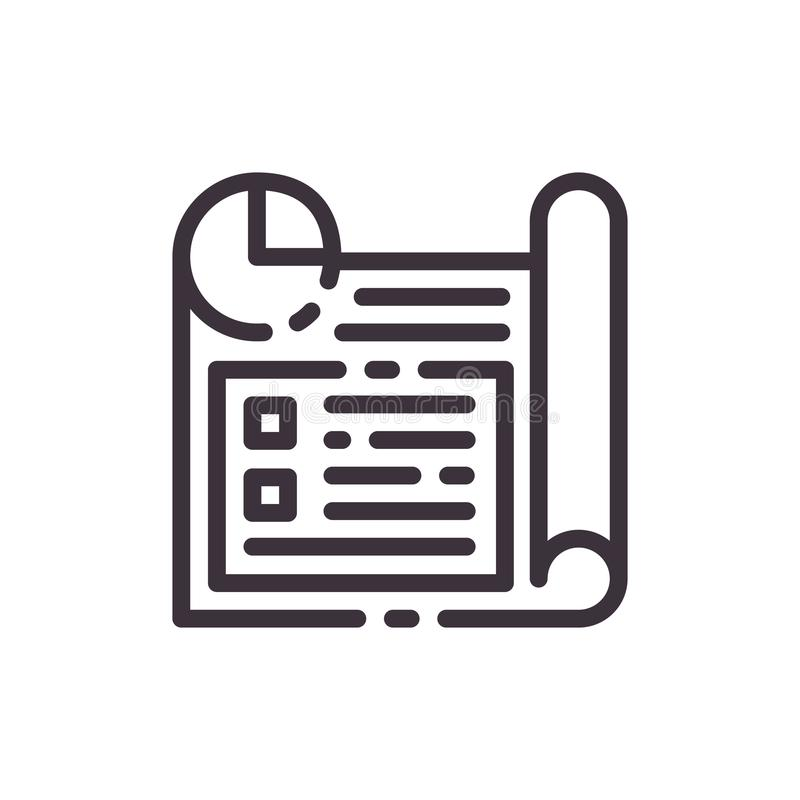 Business planning. Plan of strategy. Linear icon. vector illustration