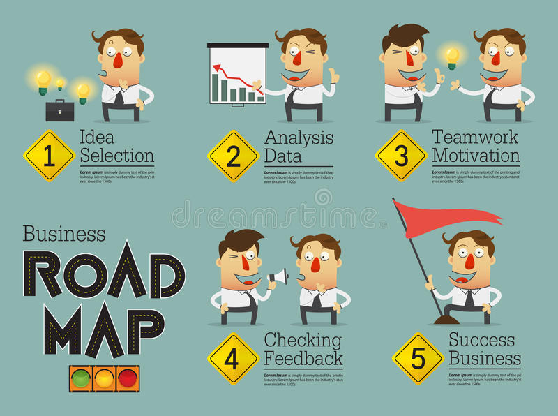 Business planning roadmap infographic. Cartoon character. royalty free illustration