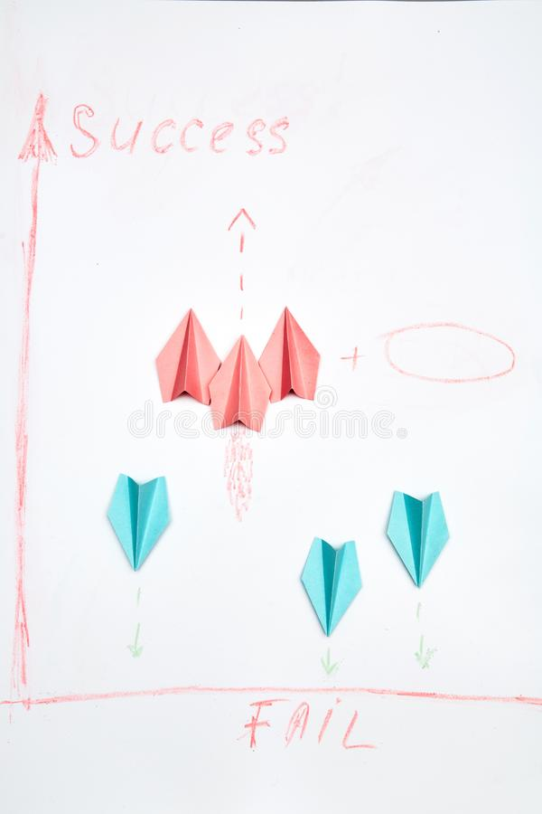 Business planning. Strategy. Challenge, improvment and progress concept. Paper aircraft team.  royalty free stock photo