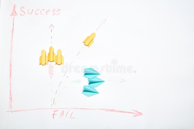 Business planning. Strategy. Challenge, improvment and progress concept. Paper aircraft team.  stock images