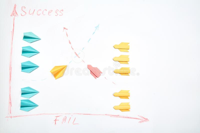 Business planning. Strategy. Challenge, improvment and progress concept. Paper planes on white background.  royalty free stock image