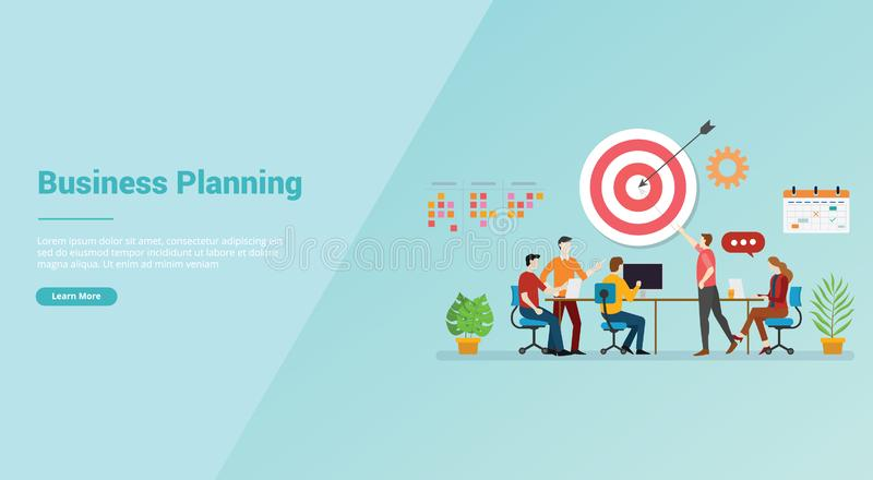 Business planning strategy meeting team for website template or banner landing homepage - vector vector illustration