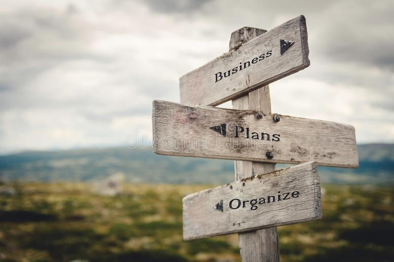 Business, plans and organize wooden signpost outdoors in nature. stock images