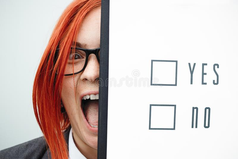 Business politics concept of choice and voting. Woman in suit an stock photo