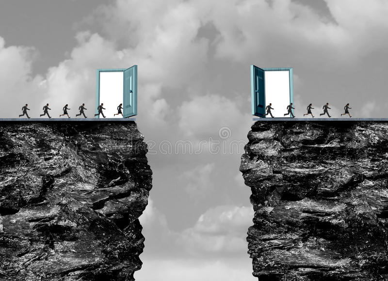 Business Portal. And career opportunities concept as a magical surreal open door leading to an opportunity to cross a cliff opening acting as an opportunity vector illustration
