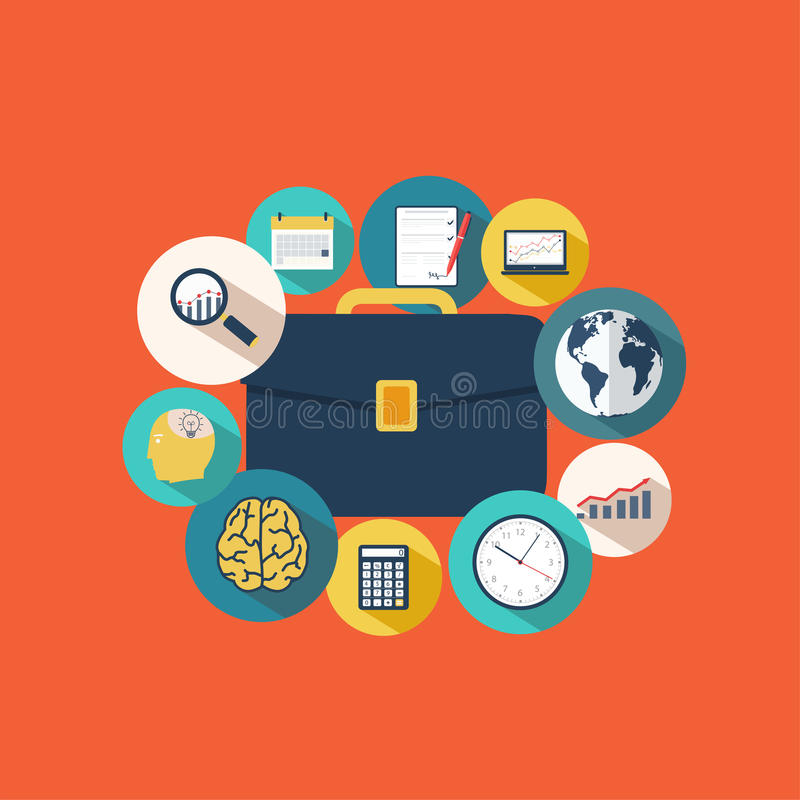 Business portfolio with icons statistical data, reporting royalty free illustration