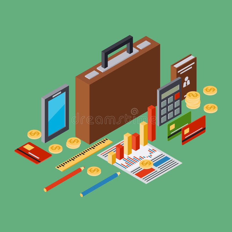 Business portfolio, report, business plan isometric vector concept. Business portfolio, report, business plan flat 3d isometric vector concept illustration stock illustration