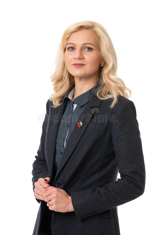 business portrait of a middle aged woman in a suit on a white isolated background royalty free stock photo