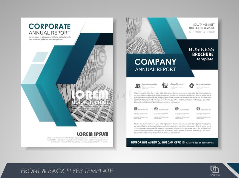 Business poster. Blue annual report brochure flyer design template. Leaflet cover presentation abstract background for business, magazines, posters, booklets stock illustration