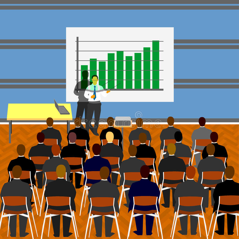 Business presentation. Illustration of business meeting, presenter standing in front of video projector, group of people attending presentation vector illustration