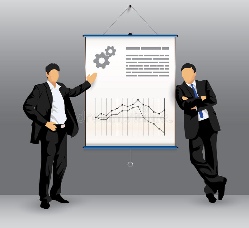 Business presentation board with business people royalty free illustration