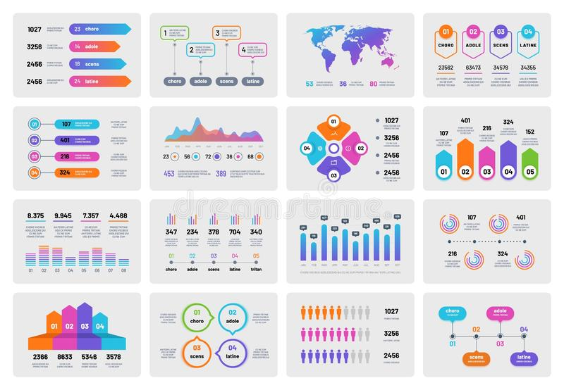 Business presentation charts. Financial report with graphs diagrams, marketing flowcharts progress bar. Vector. Infographics template. Illustration of stock illustration