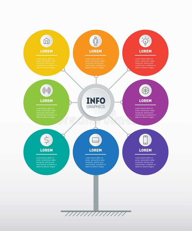 Business presentation concept with 8 options. Brochure design template. Template of tree, chart or diagram. Infographic of. Technology or education process with vector illustration
