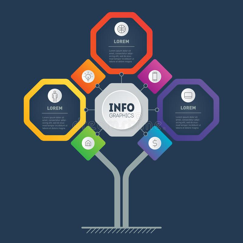 Business presentation concept with 3 options and 7 icons. Template of development tree, chart or diagram. Info graphic of. Technology or education process with royalty free illustration