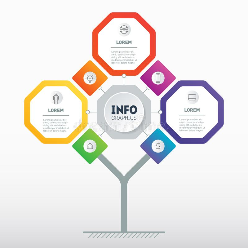 Business presentation concept with 3 or 7 options. Template of development tree, chart or diagram. Info graphic of technology or. Education process with three stock illustration